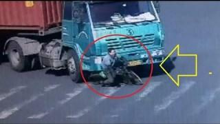 トレーラーに轢かれるも無傷の男性