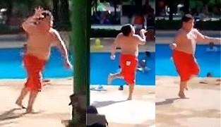 プールサイドでダンスを踊りまくるデブ少年が軽快すぎる